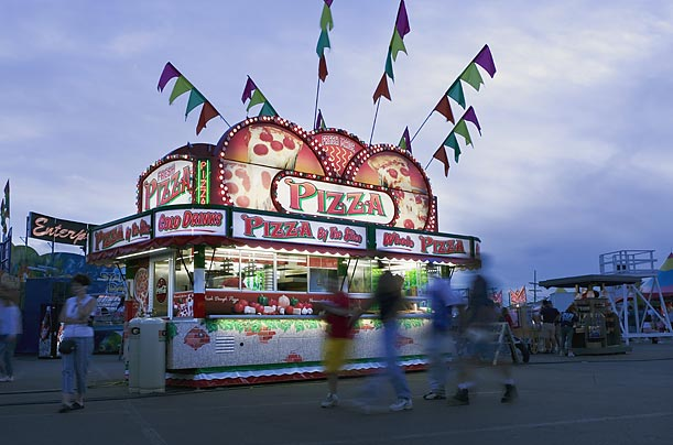 Among the many treats on offer to fairgoers: deep fried candy bars, funnel cakes, cotton candy, pizza, corn dogs and elephant ears.