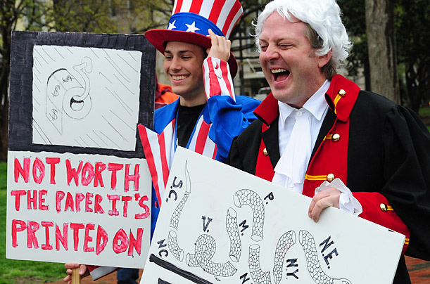 This father and son dressed in historic costumes for the demonstration in Lafayette Park, across from the White House.