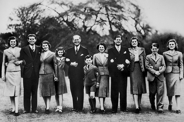 Kennedy, center, was born the youngest child of Joseph and Rose Kennedy. The family poses for a portrait in London, 1939, Eunice, left, John, Rosemary, Jean, Joseph, Edward, Rose, Joseph Jr., Patricia, Robert and Kathleen.
