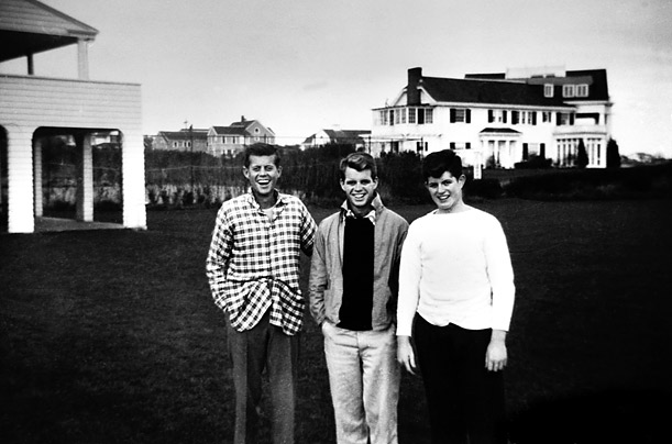 The brothers Kennedy — John, Robert and Ted — in their teens, standing together at their family estate in Hyannis Port, Mass. Their eldest brother, Joseph Jr., was killed in action during World War II.