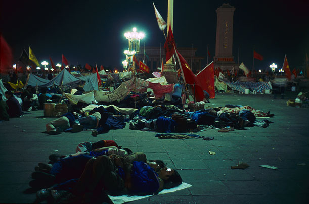 The students hold the square while the government tries, in vain, to move the People's Liberation Army into Beijin