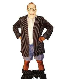 topical costumes are always appreciated and this one is low hanging fruit mask complete with gap toothed grin check pin striped jacket check