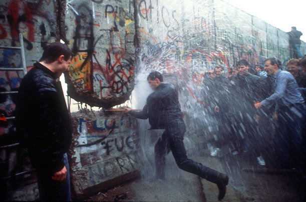 The tearing down of the Berlin Wall