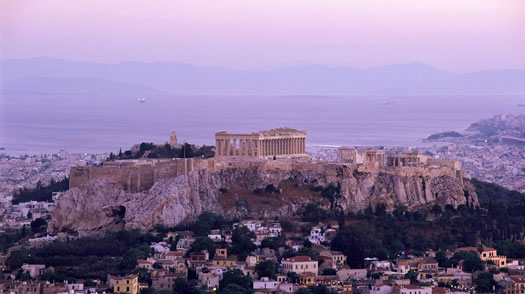 The Parthenon and Acropolis from Lykavitos, Athens, Greece