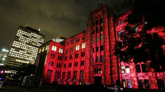 "The Museum of Contemporary Art is covered with an ""electric canvas"" during a media call one day before the start of the new Vivid Festival in Sydney May 25, 2009"
