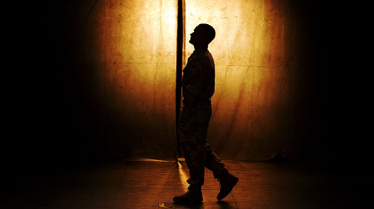 A cast member from the National Theatre of Scotland preforms a scene from Black Watch during the 2008 Sydney Festival at the Carriage Works on January 10, 2008 in Sydney