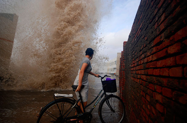 Waves crash the beach at the city of Wenling along China's southeast coast as Typhoon Morakot swept ashore on Aug. 7