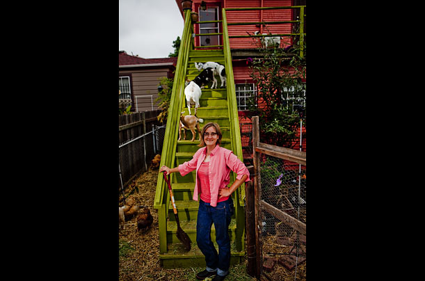 Novella Carpenter has maintained a farm in her backyard in Oakland for ten years. She presently keeps six goats and several chickens