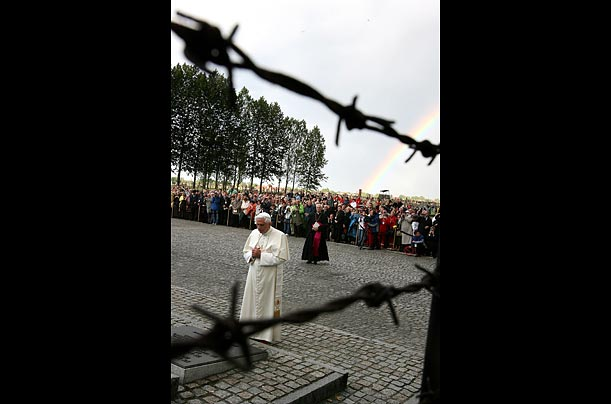 Pope Benedict XVI gives a speech at Auschwitz but fails to mention anti-Semitism as a cause of the Holocaust.
