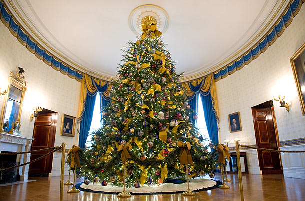 Majestic  The tree is lit with environmentally friendly LED lights and decorated with more than 800 ornaments from previous White House Administrations.