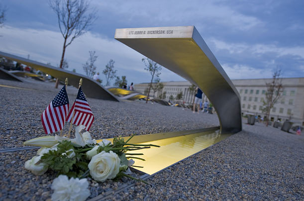 The memorial at the Pentagon, opened to the public on September 11, 2008, consists of 184 benches, each with a plaque bearing the name of a