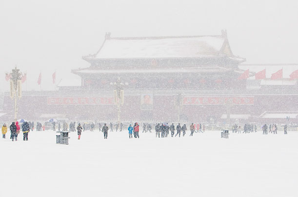Record Snow Across Asia: Tiananmen Square, China