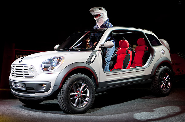 A driver in a shark mask unveils a Bayerische Motoren Werke AG (BMW) Mini Beachcomber concept car