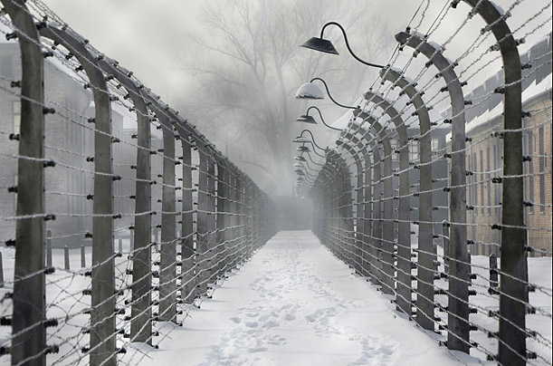 The barbed wire fences of the Auschwitz death camp
