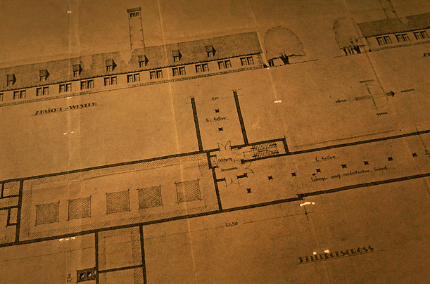 The original plans for the crematorium from the blueprints of the Auschwitz-Birkenau Nazi death camp