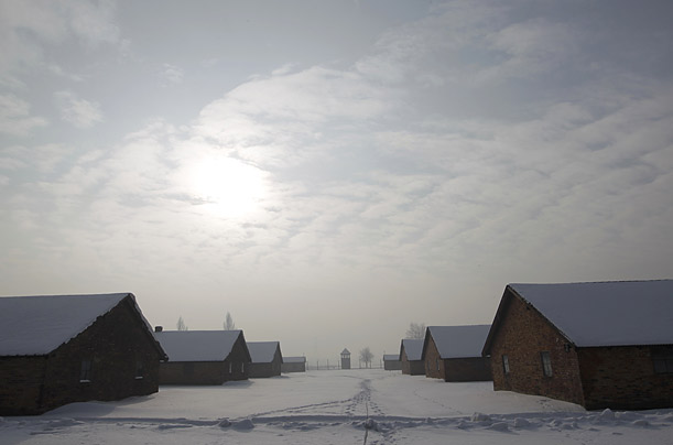 The camp's barracks are pictured on the early morning of January 27, 2010.