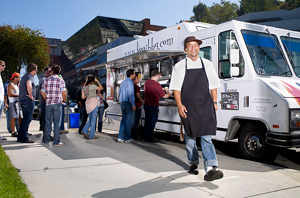 Roy Choi, founder of Los Angeles' famous Kogi taco trucks, is part of a growing movement in many U.S. cities to mobilize affordable—and often very sophisticated — cuisine. Choi hauled in $2 million in sales his first year.