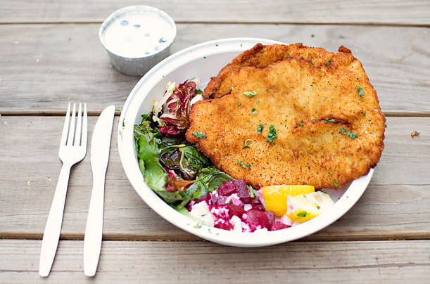 The name says it all: Schnitzel & Things sells hand-pounded, fried cutlets (you have your choice of chicken, pork or cod) for $8, along with the perfect trimmings: potato