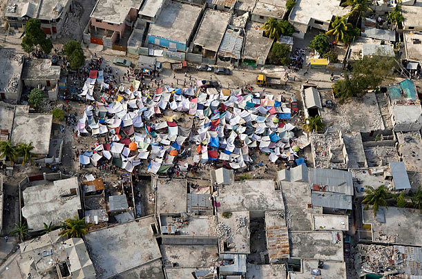 Tent City  Haitians have set up impromptu tent cities throughout the capital. Many buildings still remain unsafe to enter due to risk of collapse.