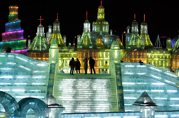 The majority of the ice sculptures are illuminated by LED lights, creating what the Chinese call
