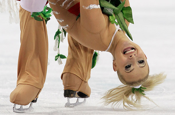 Russia's Oksana Domnina and Maxim Shabalin perform their original dance during the ice dance figure skating competition at the Vancouver 2010 Olympics in Vancouver,
