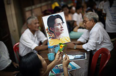Supporters of Burma's Aung San Suu Kyi