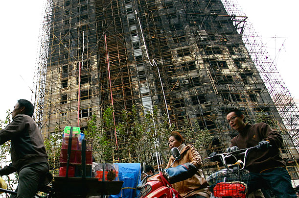 China, Shanghai apartment building, fire, Mourn