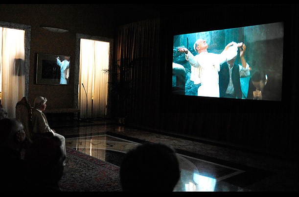 Pope Benedict XVI watches the movie