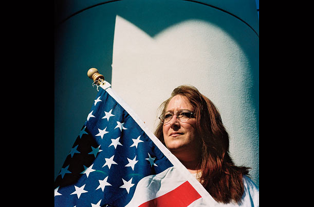 Lisa Wheeler, an accountant and small business owner from Seminole, Florida, attends a Tea Party protest against the current administration in Tampa, Florida