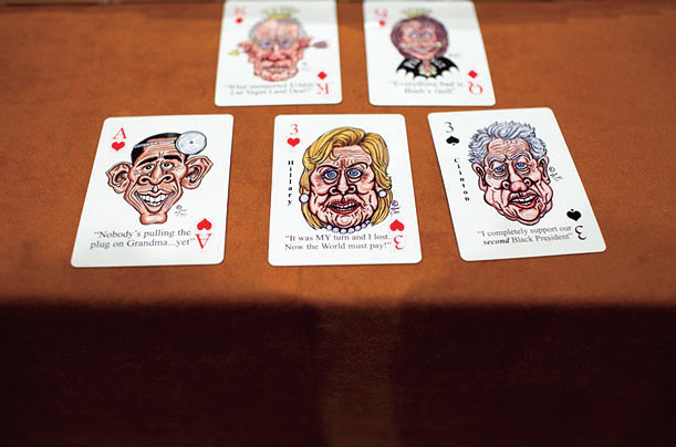 Gregg Garvey sells his political caricature playing cards at the convention.