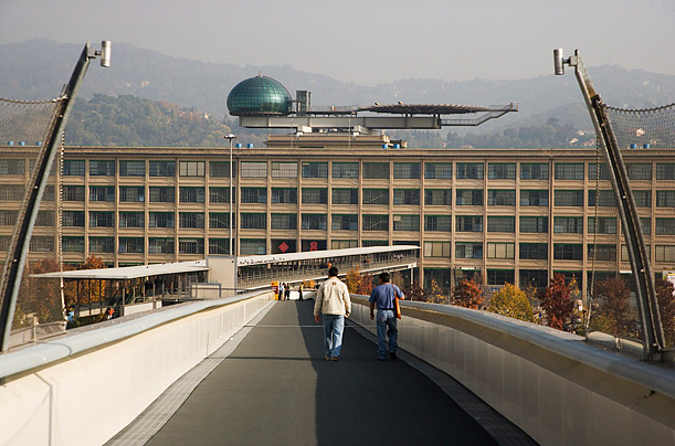 Italy, Piedmont, Turin,Lingotto trade fair, heliport and the half sphere meeting room