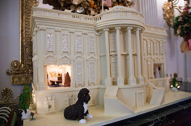 This year's gingerbread house features a marzipan replica of the Obama family dog, Bo.