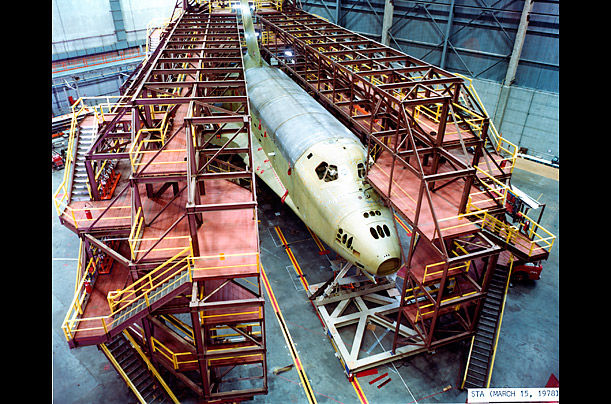 Challenger began its life as STA-099, a test vehicle, above, designed to explore the stress limits of a lighter-weight frame that engineers at NASA and its contractor Rockwell had