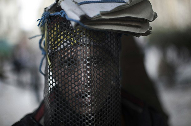 Makeshift helmets of Egypt's Protests
