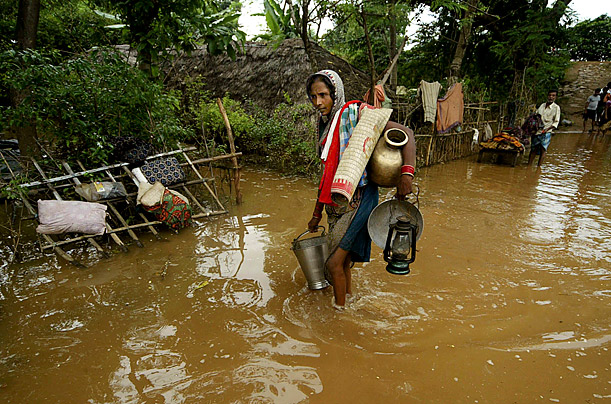 Monsoon rains have collapsed mud huts and flooded wide swaths of north and east India in recent days, leaving scores dead and hundreds of thousands of people marooned by the raging waters, officials said Monday.