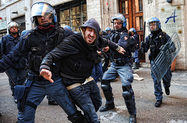Italian Protesters Challenge Austerity Demonstrators take to the streets in cities across Italy