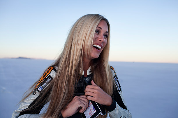 Leslie Porterfield holds the Guinness Book of World Record as the Fastest Woman in the World on a Motorcycle, a record she set in 2008 at Bonneville, with a speed of 232.522 mph.