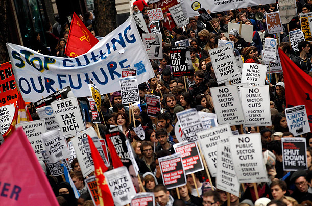 London Student Protest Demonstrators gather in opposition to higher university fees and austerity measures