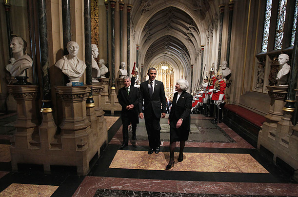 President Barack Obama, escorted by John Bercow, left, Speaker of the House of Commons, and Helen Hayman, Lord Speaker of the House of Lords, walks into Westminster Hall to address members of both Houses of Parliament in London on May 25, 2011.
