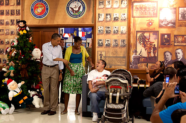 The Obamas Visit Troops on Christmas