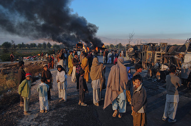 Militants Attack NATO Convoy in Pakistan Gunmen destroy a supply of fuel bound for coalition forces in Afghanistan