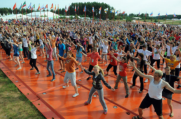 The camp will play host to thousands of young people, from all across Russia and abroad. Above: a calisthenics session, July 4, 2011.