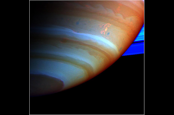 The spacecraft Cassini captures turbulent weather on the surface of the ringed planet.