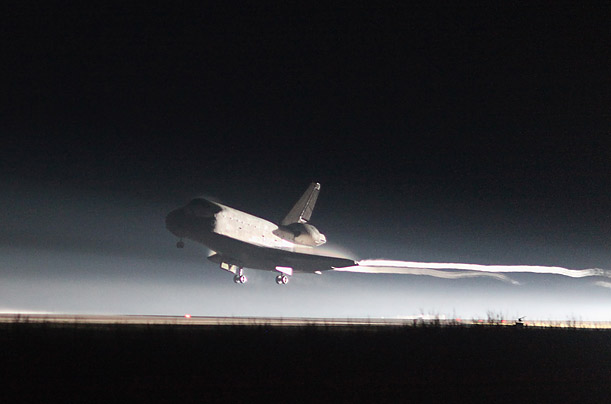 Space Shuttle Atlantis lands at Kennedy Space Center July 21, 2011 in Cape Canaveral, Florida. Atlantis was the final shuttle mission for NASA, ending the 30 years of the shuttle program