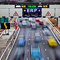 Central ExpresswayThe Electronic Road Pricing (ERP) gantry is an electronic toll collection scheme designed to manage traffic flow in congested areas. The charge of passing through a gantry depends on the location and time.