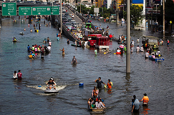Picture of flooding in outskirts of Bangkok Thailand
