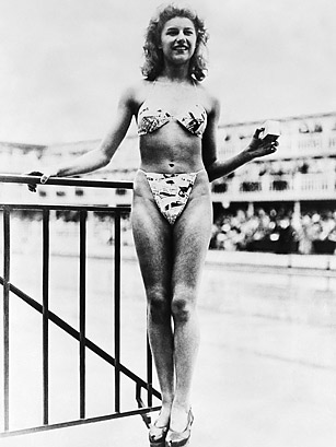 Micheline Bernardini Models the First Bikini in July 1946