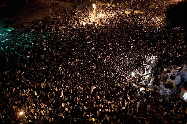 Huge numbers of Egyptians gather with joy at Tahrir Square on this momentous occasion.