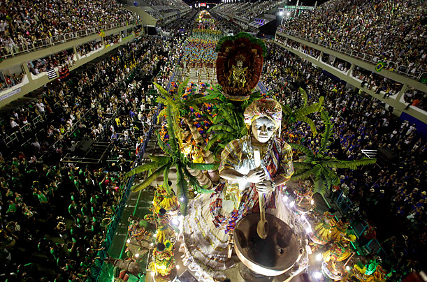 The Imperatriz samba school parades on the first night of the annual Carnival parade in Rio de Janeiro's Sambadrome, February 19, 2012.