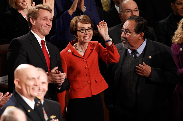 Gabby Giffords Bids Farewell to Congress On the eve of her resignation, the Arizona Representative attends President Obamas State of the Union address